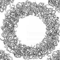 moldura floral redonda preto e branco temtlate. quadro de círculo floral de arte em linha. vetor