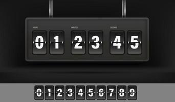 Conjunto de cronômetro e números estilo vintage vetor