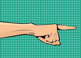 A mão aponta para o lado e para cima vector pop art retro