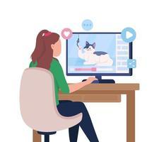 garota assistindo a vídeos engraçados na internet personagem de vetor de cor semi-plana