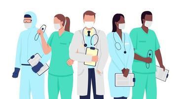 profissionais médicos personagem de vetor de cor semi plana