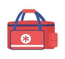 maleta médica de emergência para paramédicos objeto vetorial de cor semi-plana vetor