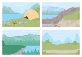 conjunto de ilustração vetorial de cores planas de férias no campo vetor
