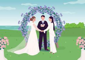 ilustração em vetor cor lisa cerimônia de casamento para casal de lésbicas