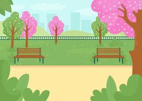 ilustração em vetor spring park flat color
