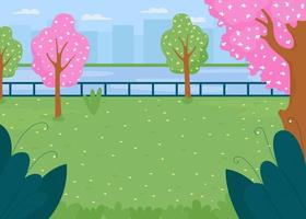 ilustração em vetor spring city park field plana cor