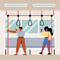 casal no metrô vetor