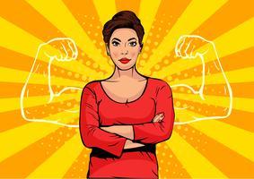 Mulher de negócios com músculos pop art estilo retro. Empresário forte em estilo cômico. Ilustração em vetor conceito sucesso.