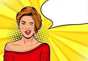 Garota piscando. Ilustração em quadrinhos desenhos animados vetor em estilo retro pop art. Cartaz de publicidade vintage. Cartão de aniversário ou convite para festa. Estrela de cinema de Hollywood.