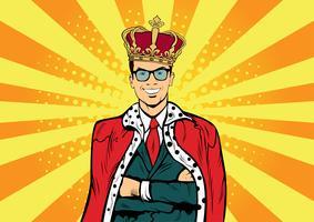 Rei de negócios. Empresário com coroa. Homem líder, chefe de sucesso, ego humano. Pop art retro em quadrinhos afogar ilustração vetorial. vetor
