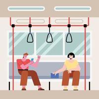 casal sentado no metrô vetor