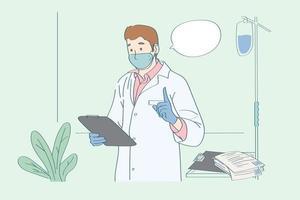 análise e consulta do médico como prevenir a doença. médico, levar o caso do exame e aconselhar o paciente vetor