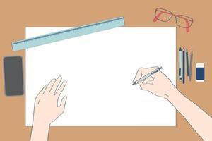 vista de cima da mesa de trabalho marrom do local de trabalho com papel grande para escrever qualquer coisa decorar com óculos, lápis, régua, borracha, smartphone, equipamento de escrita vetor