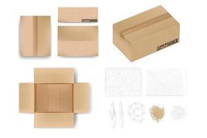 caixa de papelão maquete em vista diferente com fita ou visão aberta o objeto vem com material de almofada como plástico bolha folha de papel almofada de ar bolsa de almofada de ar ilustração realista vetor