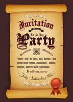 Convite vintage em pergaminho