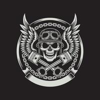 Crânio de motociclista vintage com asas e emblema de pistões em preto vetor