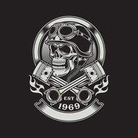 caveira de motociclista vintage com emblema de pistão cruzado vetor