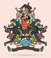 grupo de pessoas dançando juntos vetor