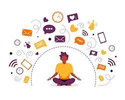 desintoxicação digital e meditação homem negro meditando em pose de lótus vetor