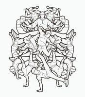 esboço grupo de pessoas dançando juntas vetor