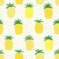 verão engraçado estampa padrão sem emenda com abacaxi amarelo vetor
