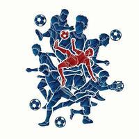 ação dos jogadores do time de futebol vetor