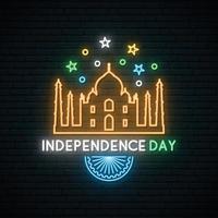 banner neon do dia da independência da índia vetor