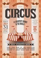Cartaz de circo listrado Grunge vintage vetor