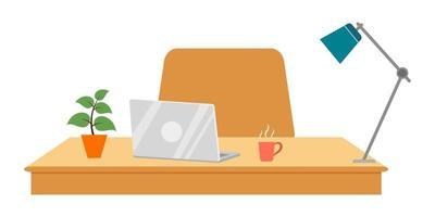 linda mesa bonita com cadeira de mesa laptop planta lâmpada isolada vetor