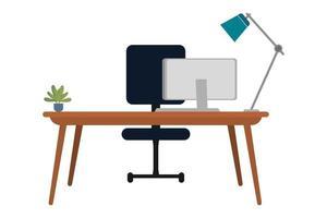 mesa bonita bonita com cadeira de mesa mesa de mesa livro lâmpada isolada vetor