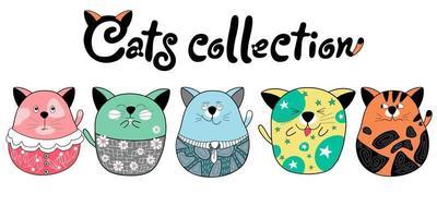 clip art coleção de gatos e designs artesanais vetor
