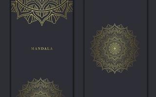 Fundo de padrão de mandala de luxo com vetor de arabescos dourados