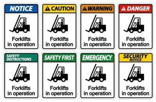empilhadeiras em símbolo de operação vetor