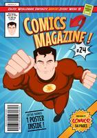 Modelo de capa de revistas em quadrinhos vetor