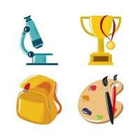 conjunto de ícones de pincel e mochila de troféu de volta às aulas vetor