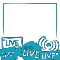 transmissão ao vivo stream de rede digital design azul vetor