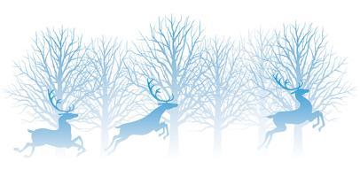 Ilustração de Natal com floresta e renas. vetor