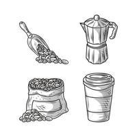 ícones de esboço de café vetor