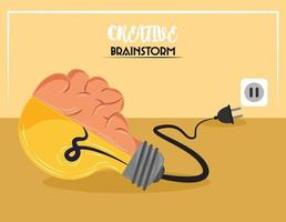 brainstorm de criatividade de bulbo vetor