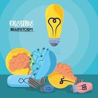 lâmpada de brainstorm de criatividade vetor
