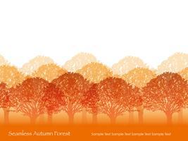 Floresta sem costura em cores de outono. vetor