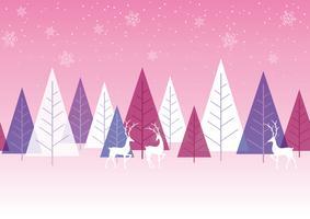 Fundo de floresta inverno sem costura com renas. vetor
