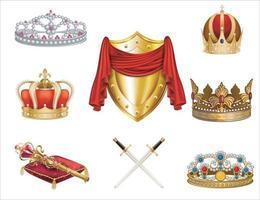 coroas e espadas antigas de ouro definidas em branco ilustração de gorros feitos de ouro com e sem pedras preciosas espada cruzada no centro e tubos com roupas vermelhas acima em design plano vetor eps 10