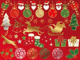 Conjunto de elementos gráficos de Natal variados.