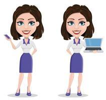 linda mulher de negócios segurando laptop e telefone inteligente vetor