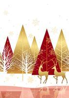 Fundo de floresta inverno sem costura com renas.