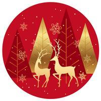 Fundo de círculo de floresta de inverno com renas.