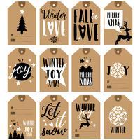 Coleção de tags de presente. Etiquetas de presentes de Natal e Ano Novo vetor