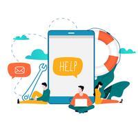 Atendimento ao cliente, ilustração de vetor plana de assistência ao cliente