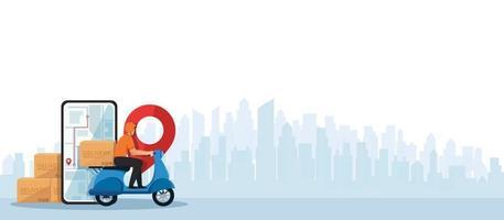 entregador andando de scooter motocicleta conceito de ilustração vetorial de serviço de entrega vetor